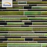 Azulejo de mosaico de interior del vidrio verde de la tira de la decoración del estilo clásico al por mayor