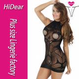 Plusgrößen-blosse nackte schwarze Frauen-Wäsche Bodystocking für schöne Damen
