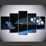 5 pedazos de Star Wars de la muerte de la estrella de la estrella del destructor de la pared de la decoración de la lona del cuadro del arte HD de la pintura casera moderna de la impresión en ilustraciones de la lona