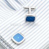 Collegamento di polsino blu placcato d'argento di cerimonia nuziale del quadrato della pittura di VAGULA 699