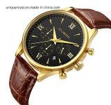 O relógio da cinta de relógio de couro