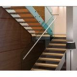 Escadaria de vidro da madeira da U-Forma do corrimão/trilhos das escadas de madeira modernas