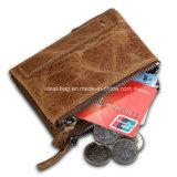 Double fermeture éclair en cuir véritable portefeuille RFID