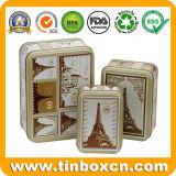 Contenitore rettangolare su ordinazione di stagno per alimento ed il regalo che impaccano, insieme del contenitore del metallo