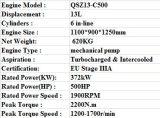 Горячее сбывание! Двигатель дизеля Qsz13-C500 Cummins для конструкции (EU)