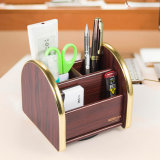 Color de madera de la oficina del organizador funcional multi del papel con la base movible