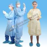 Delantal quirúrgico no tejido, vestido médico disponible del delantal con las fundas
