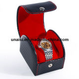 Única e caixa de presente de couro dobro do relógio de pulso do portador do plutônio