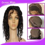 Peluca profunda del cordón del frente de onda de la longitud media del pelo de la Virgen del ser humano del 100%