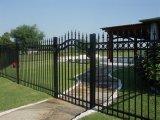 Rete fissa nera di alluminio del giardino con il cancello