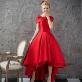 Vestido vermelho do baile de finalistas da noite do cetim do vestido de esfera da luva do tampão das mulheres