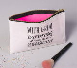 Petit sac en toile de coton organique maquillage avec fermeture à glissière