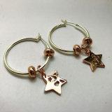 로즈 실제적인 금은 2개의 음색 유행 간단한 작풍 별 원형 귀걸이를 도금했다