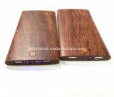 La madera del Banco de potencia de 8000mAh Teléfono Móvil Banco de potencia