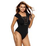 Дешевые женщин Black Lace Up крепежные втулки Bodysuit