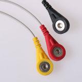Jack estéreo de 3,5 mm bañado en oro y el 3 de 4,0 mm Cable Electrodo Snap