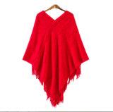 2017方法セーターのウールのポンチョの卸売のペルーのアルパカのウールのポンチョ