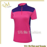 Frauen-Sports halbes Reißverschluss-Polyester Polo-Hemden mit kurzer Hülse