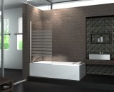 Línea blanca pantalla elegante del obstáculo del baño de ducha del oscilación del vidrio Tempered