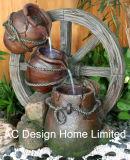 旧式な陶器のPolyresinの屋外の庭水噴水W/LEDライト