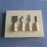 Junta de piedra blanca de mármol de queso con juego de cuchillos / mármol juego de manijas Cuchillo de queso