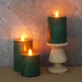 녹색에 있는 기둥 불꽃 없는 LED 초 (3)의 놓으십시오