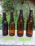 11oz 22oz bernsteinfarbige Glasbierflasche mit Krone oder Überwurfmutter