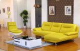레몬 색깔 현대 진짜 가죽 소파 (612)