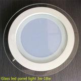 Iluminação de painel de LED de vidro de 12W, lâmpada de círculo circular LED