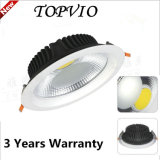 Incrustar en el techo de aluminio Die-Cast 10W/20W/30W Downlight LED COB