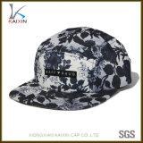 Sombreros sublimados escritura de la etiqueta tejidos aduana del panel de la correa de cuero 5 del campista