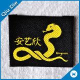 Exportando a etiqueta tecida tela do vestuário de 500 MOQ para o acessório do vestuário