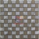 Плитки мозаики формы Weave алюминиевого смешивания цвета золота бежевые (CFA78)