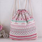 Мешок Drawstring Backpack хлопка Linen