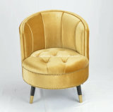 現代贅沢で標準的な背部が付いているビロードによって装飾されるファブリックボタンの房状のたらいのオットマンの椅子