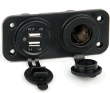 lo zoccolo dell'accenditore della sigaretta della presa di potere 12V + 2.1A si raddoppiano adattatore del caricatore del USB + LED Port