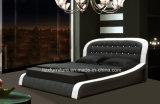 Modernes Schlafzimmer-Set-Italien-ledernes weiches doppeltes Luxuxbett