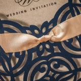 Oro Azul real arco diseñado elegante corte láser Tarjetas de invitaciones de boda