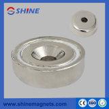 Magnete basso rotondo del POT di A25 NdFeB con l'amo nichelato