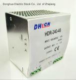 240W 100-240 VCA à DC 24V 10A Alimentation de l'interrupteur de rail DIN Hdr RoHS-240-24 Ce ISO9001