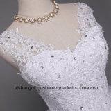 Tiefes V-Stutzen Spitze-Brautkleid-langes Robe-Hochzeits-Kleid