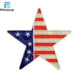 Bandera de EE.UU. Forma de estrella de metal esmaltado insignia de solapa