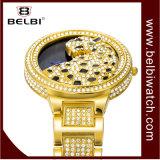 Belbi 호화스러운 표범 다이아몬드 여자 손목 시계 복장 합금 숙녀 시계