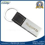 Liga feita sob encomenda do zinco com couro Keychain do metal