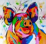 Multi-Colors cerdo lindo lienzo de pared Óleo artes para la decoración del hogar