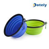 Tazón de fuente plegable del animal doméstico del silicón del uso que acampa al aire libre y casero