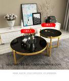 Edelstahl-moderner Tisch mit schwarzer ausgeglichenes Glas-Oberseite