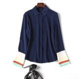 Blusa personalizada das senhoras da tela de seda do casaco de lã da camisa da forma
