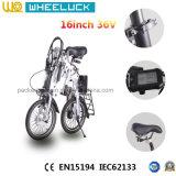Цена CE более дешевое 16 дюймов складывая электрический велосипед с безщеточным мотором