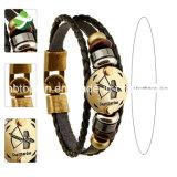 12 de Juwelen van de Punk van het Leer van de Tekens van de dierenriem van de Armband Houten van de Galsteen Bead+Black Mensen van de Mensen